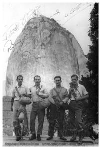 Conquistadores da Gallotti: Patrick White, Laércio Martins, Ricardo Menescal e Tadeusz Hollup. Arquivo CEC/Ivan Calou.